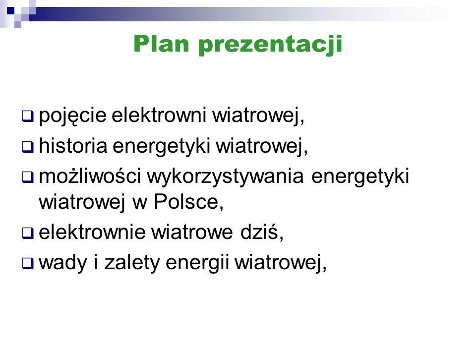 Plan prezentacji pojęcie elektrowni wiatrowej,