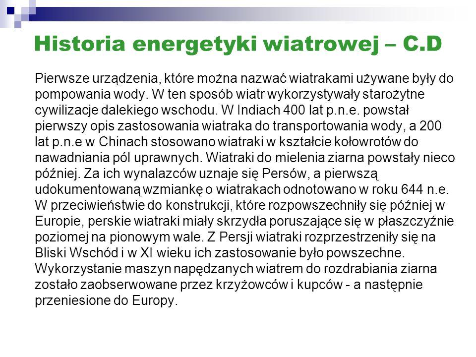 Historia energetyki wiatrowej – C.D