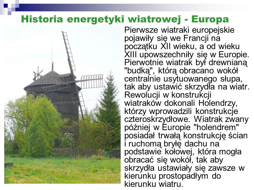 Historia energetyki wiatrowej - Europa
