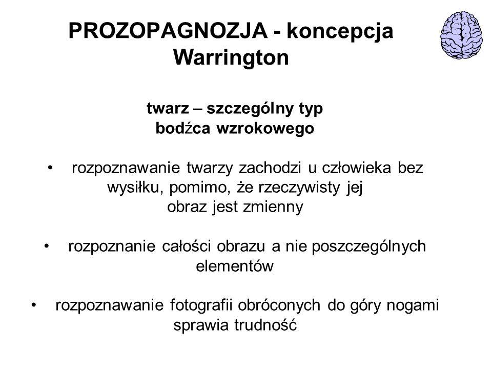 PROZOPAGNOZJA - koncepcja Warrington