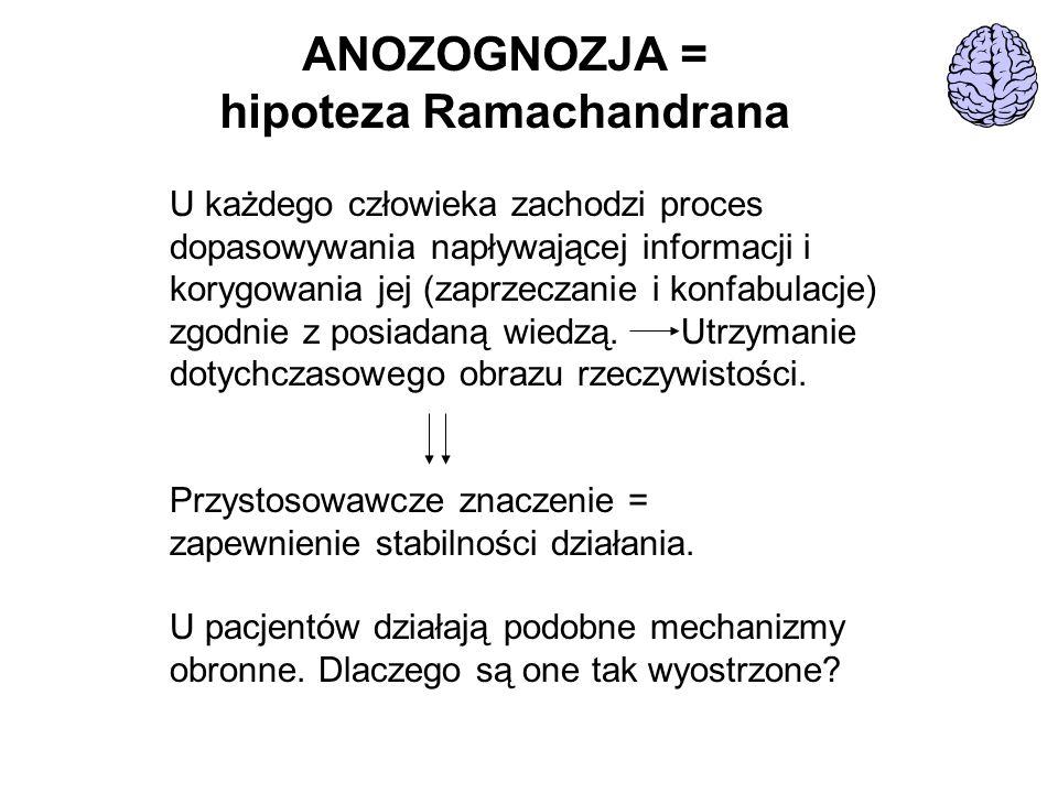 ANOZOGNOZJA = hipoteza Ramachandrana