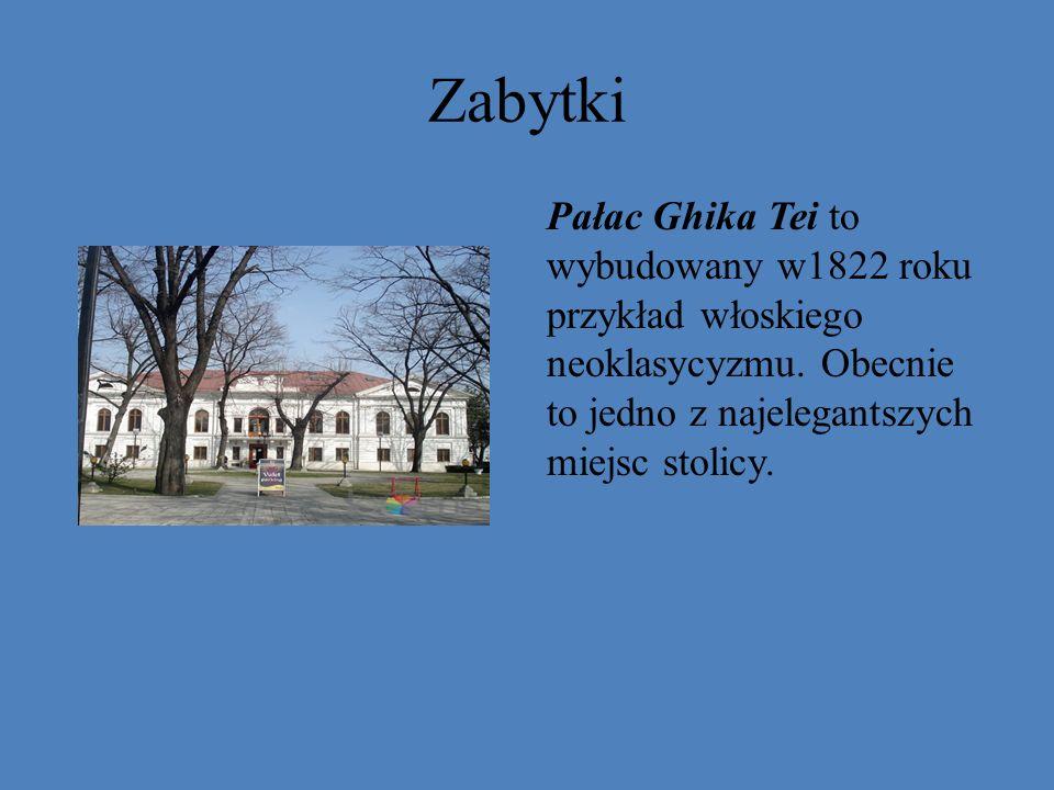Zabytki Pałac Ghika Tei to wybudowany w1822 roku przykład włoskiego neoklasycyzmu.