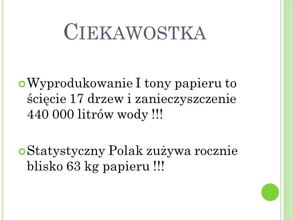 Ciekawostka Wyprodukowanie I tony papieru to ścięcie 17 drzew i zanieczyszczenie 440 000 litrów wody !!!