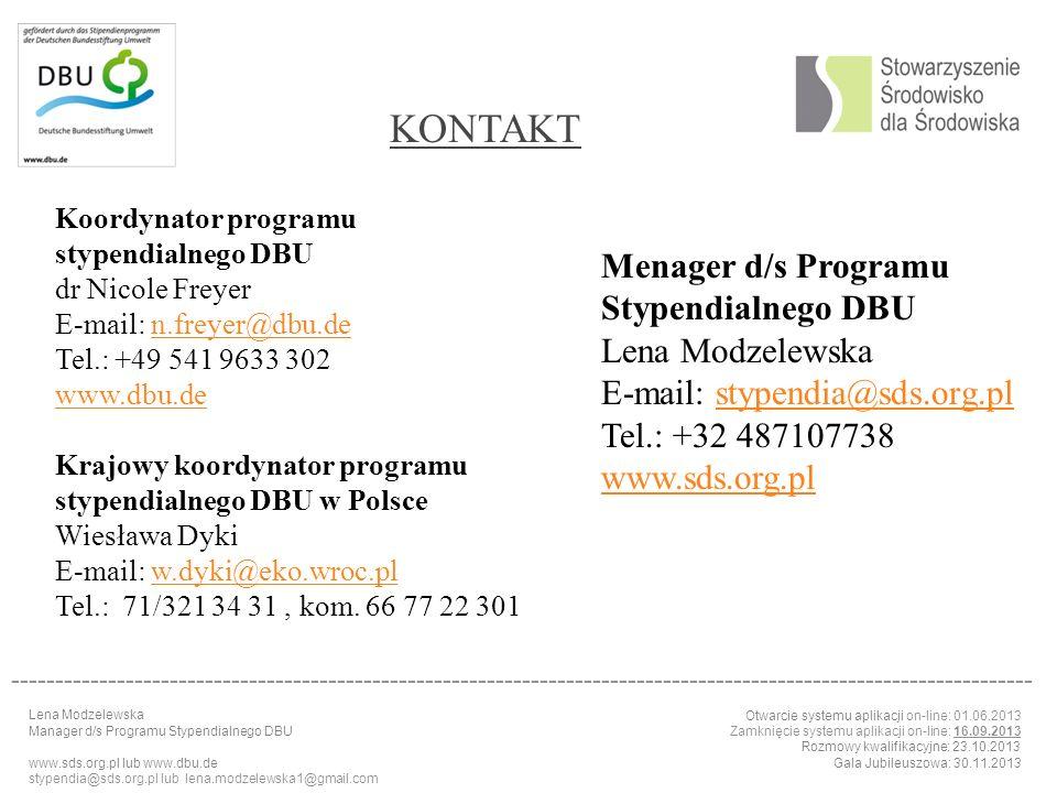 KONTAKT Menager d/s Programu Stypendialnego DBU