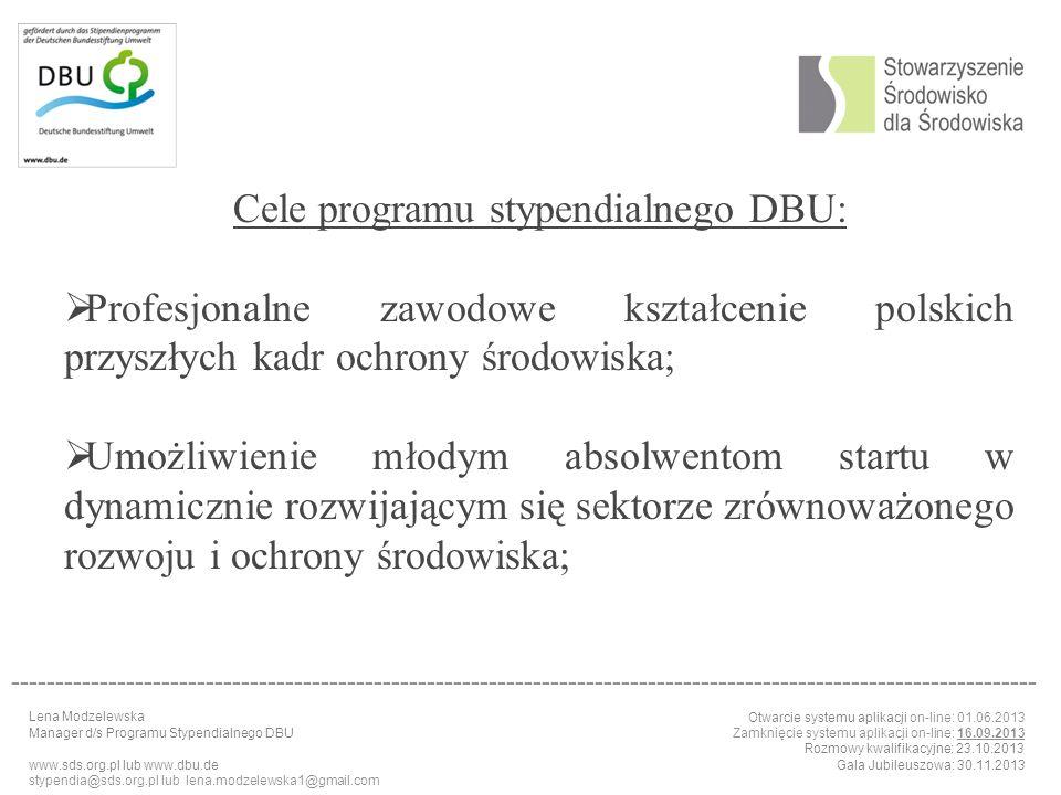 Cele programu stypendialnego DBU:
