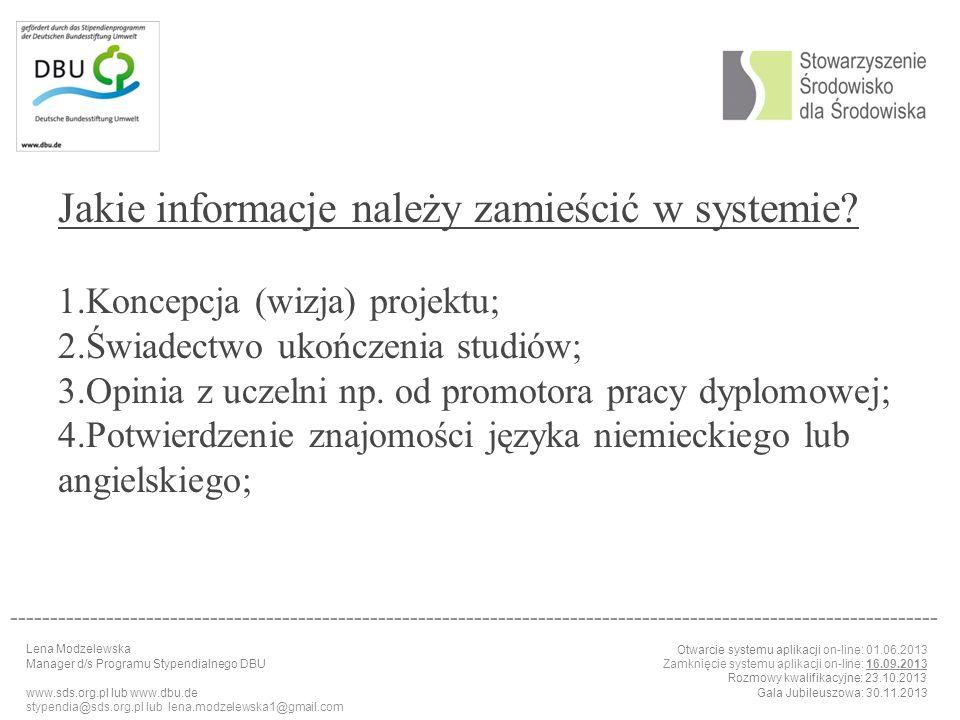 Jakie informacje należy zamieścić w systemie