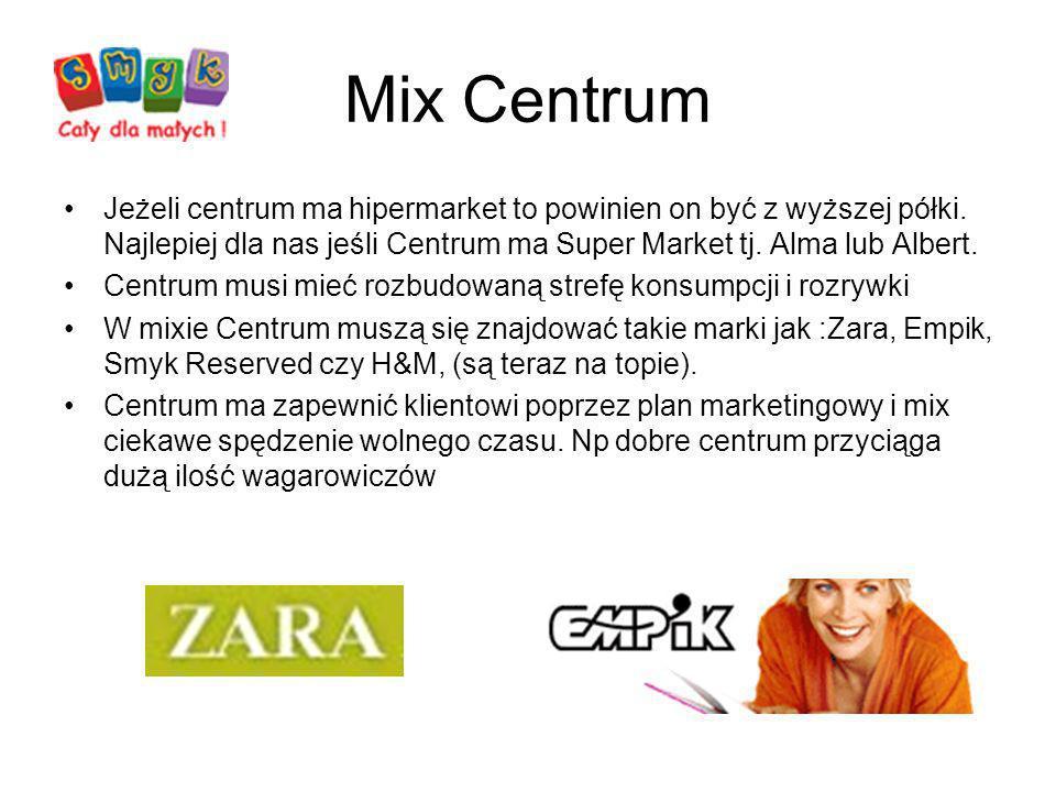 Mix Centrum Jeżeli centrum ma hipermarket to powinien on być z wyższej półki. Najlepiej dla nas jeśli Centrum ma Super Market tj. Alma lub Albert.