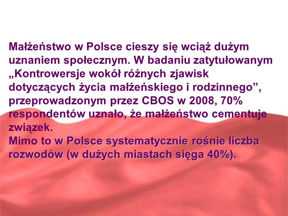 Małżeństwo w Polsce cieszy się wciąż dużym uznaniem społecznym