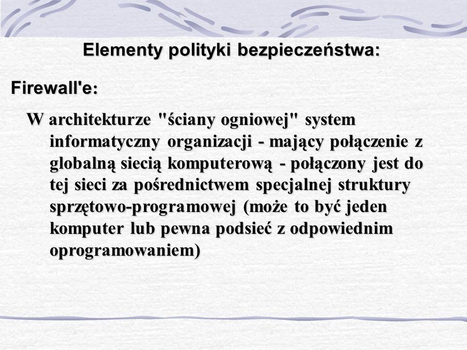 Elementy polityki bezpieczeństwa: