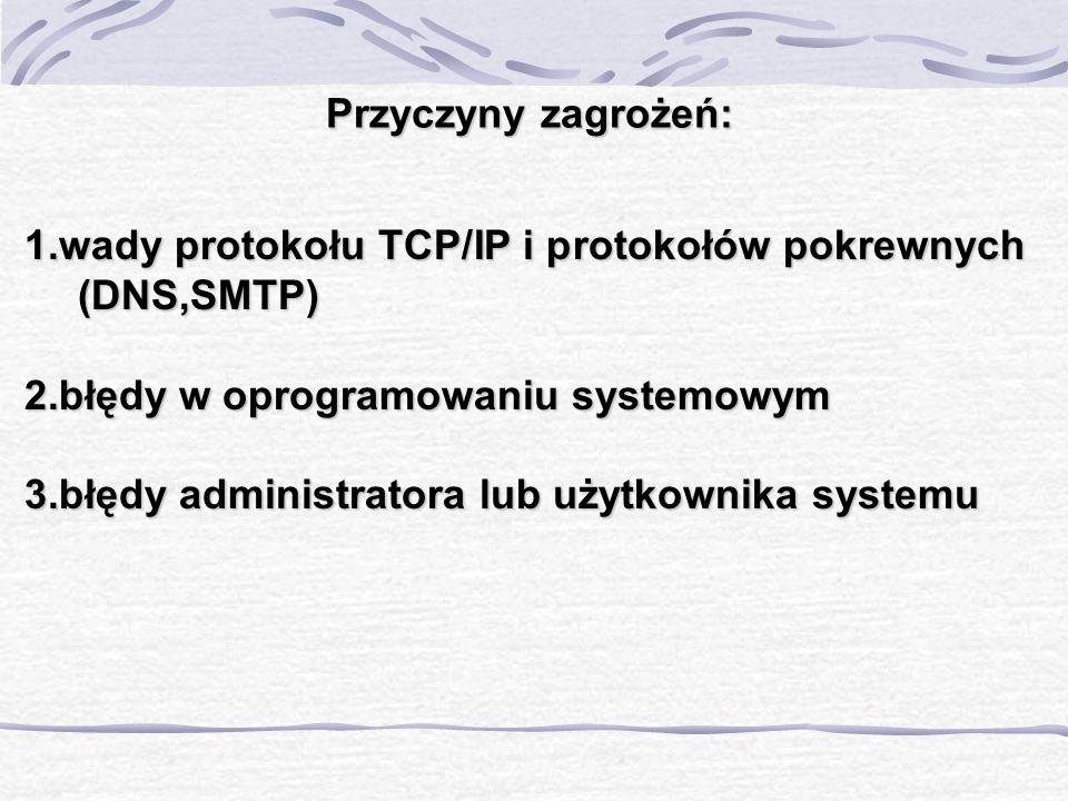 Przyczyny zagrożeń: 1.wady protokołu TCP/IP i protokołów pokrewnych (DNS,SMTP) 2.błędy w oprogramowaniu systemowym.