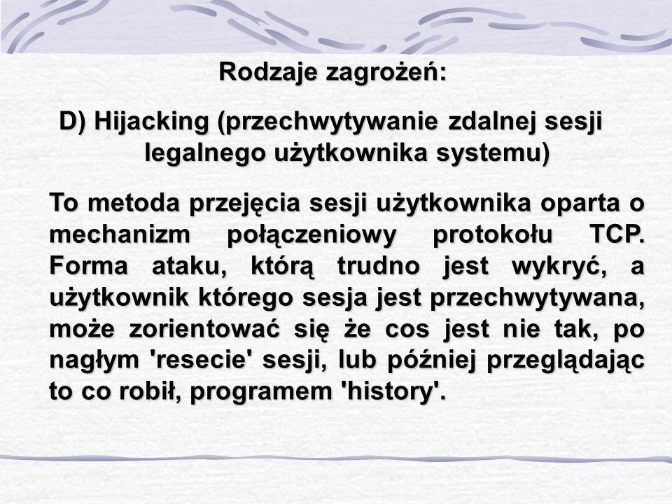 Rodzaje zagrożeń: D) Hijacking (przechwytywanie zdalnej sesji legalnego użytkownika systemu)
