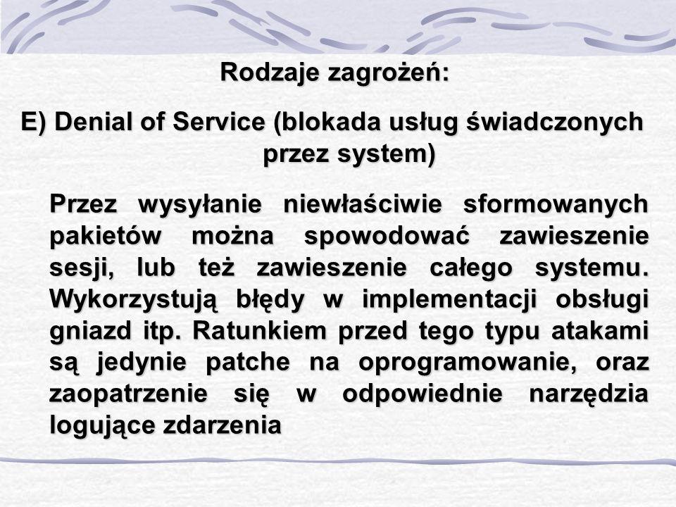 E) Denial of Service (blokada usług świadczonych przez system)