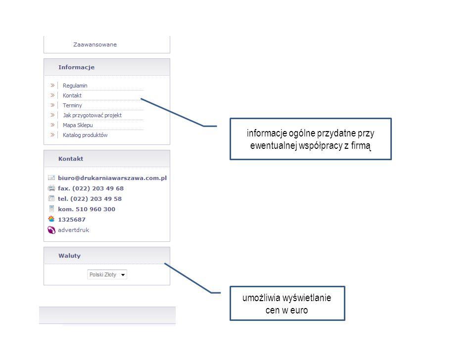 informacje ogólne przydatne przy ewentualnej współpracy z firmą