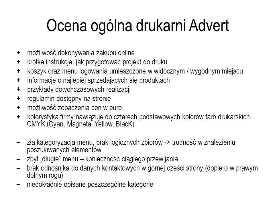 Ocena ogólna drukarni Advert
