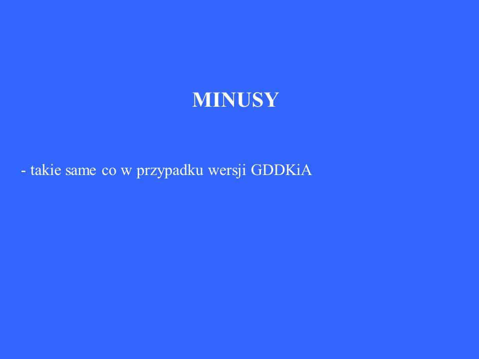 MINUSY - takie same co w przypadku wersji GDDKiA
