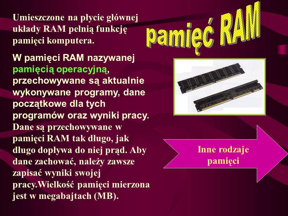 pamięć RAM Umieszczone na płycie głównej układy RAM pełnią funkcję pamięci komputera.