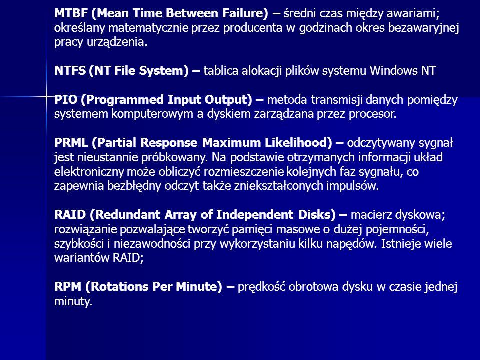 MTBF (Mean Time Between Failure) – średni czas między awariami; określany matematycznie przez producenta w godzinach okres bezawaryjnej pracy urządzenia.
