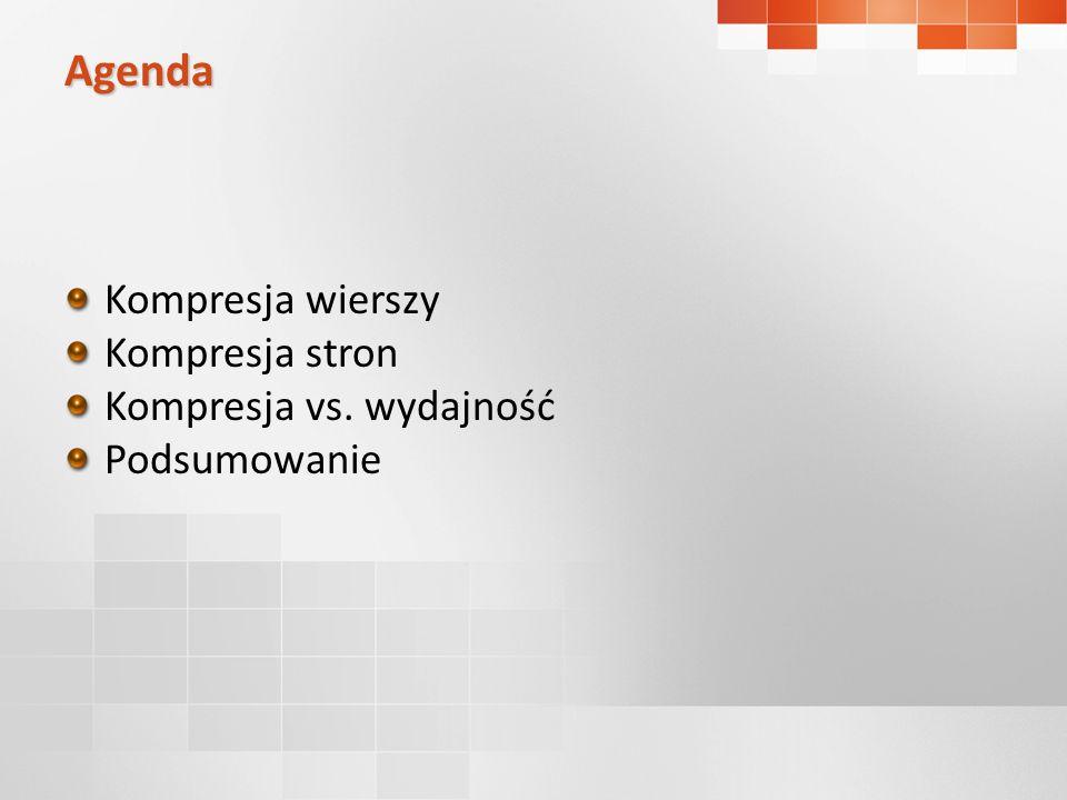 Agenda Kompresja wierszy Kompresja stron Kompresja vs. wydajność