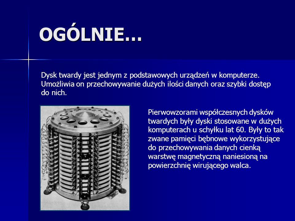 OGÓLNIE… Dysk twardy jest jednym z podstawowych urządzeń w komputerze. Umożliwia on przechowywanie dużych ilości danych oraz szybki dostęp do nich.