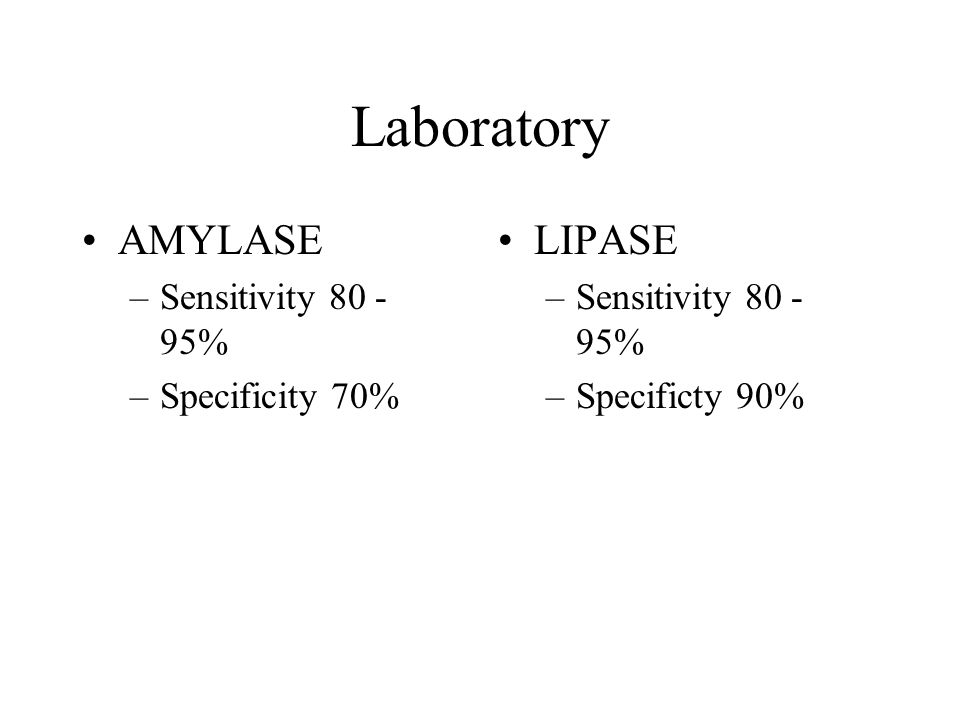 Laboratory AMYLASE LIPASE Sensitivity 80 - 95% Specificity 70%