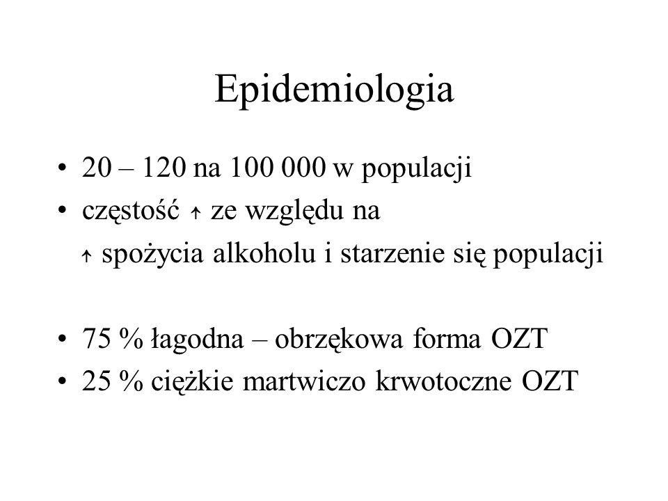 Epidemiologia 20 – 120 na 100 000 w populacji częstość ↑ ze względu na