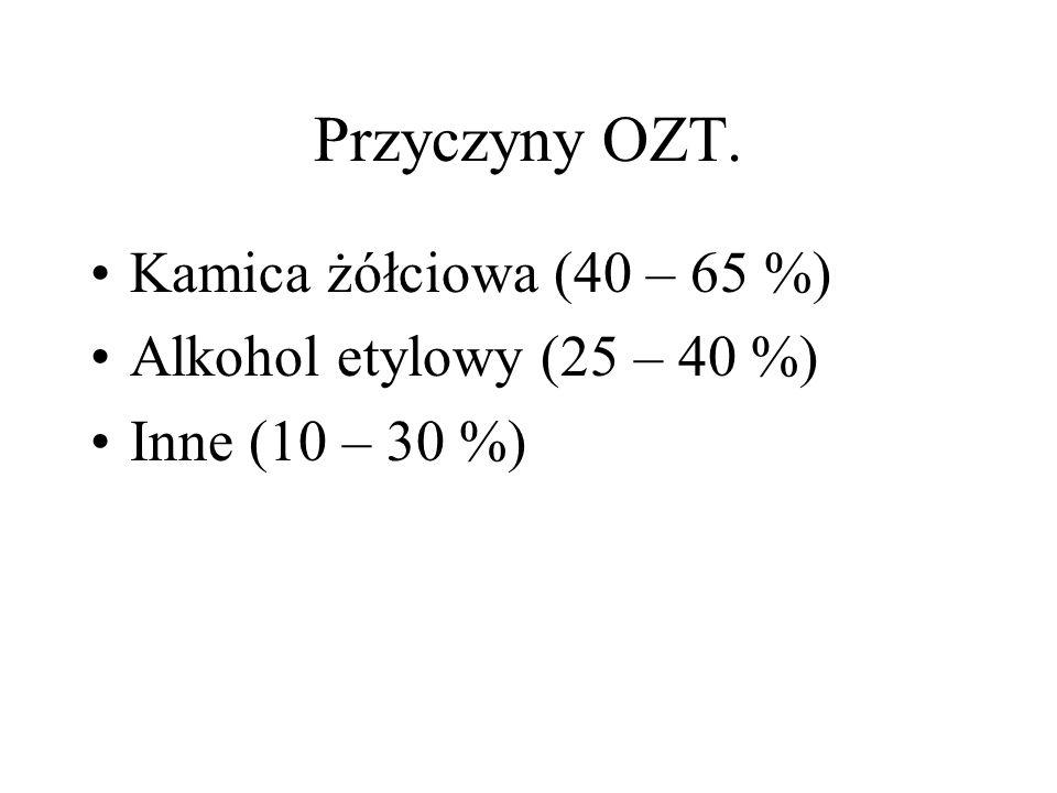 Przyczyny OZT. Kamica żółciowa (40 – 65 %) Alkohol etylowy (25 – 40 %)