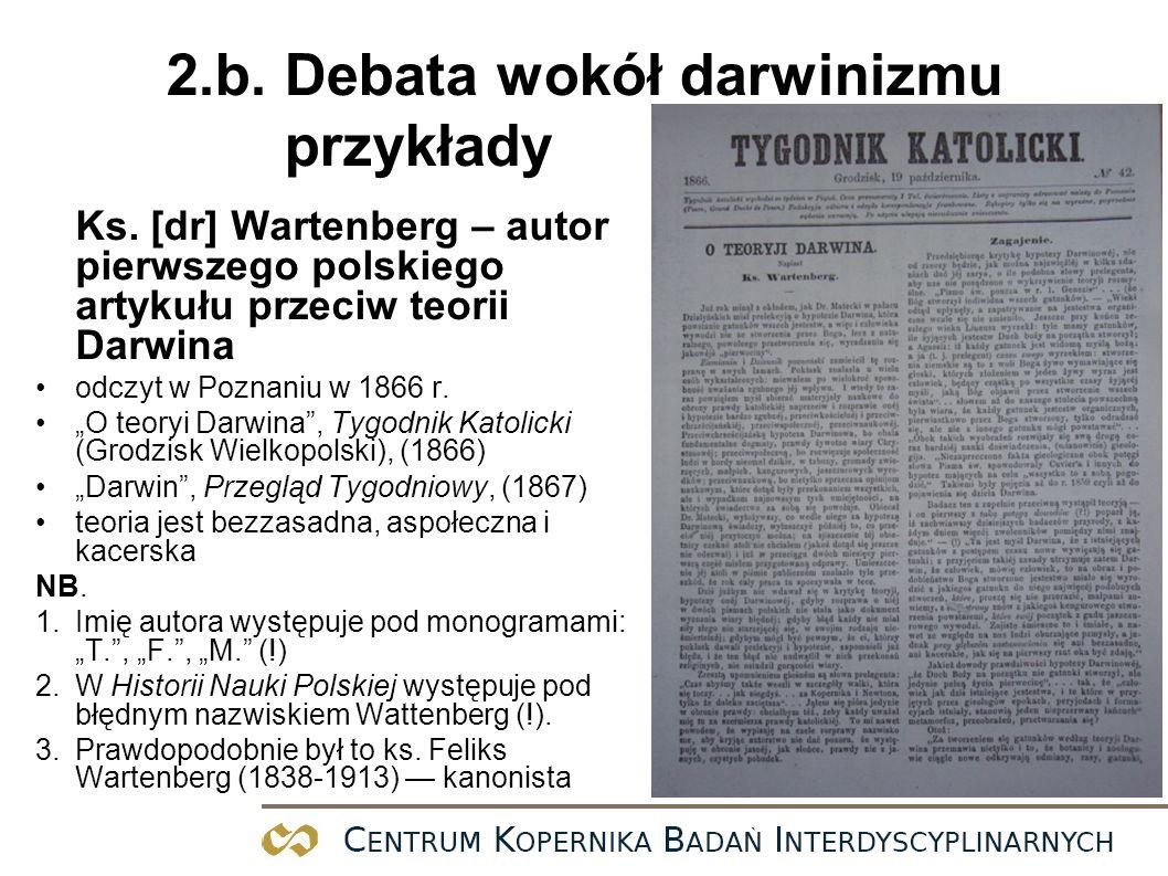 2.b. Debata wokół darwinizmu przykłady