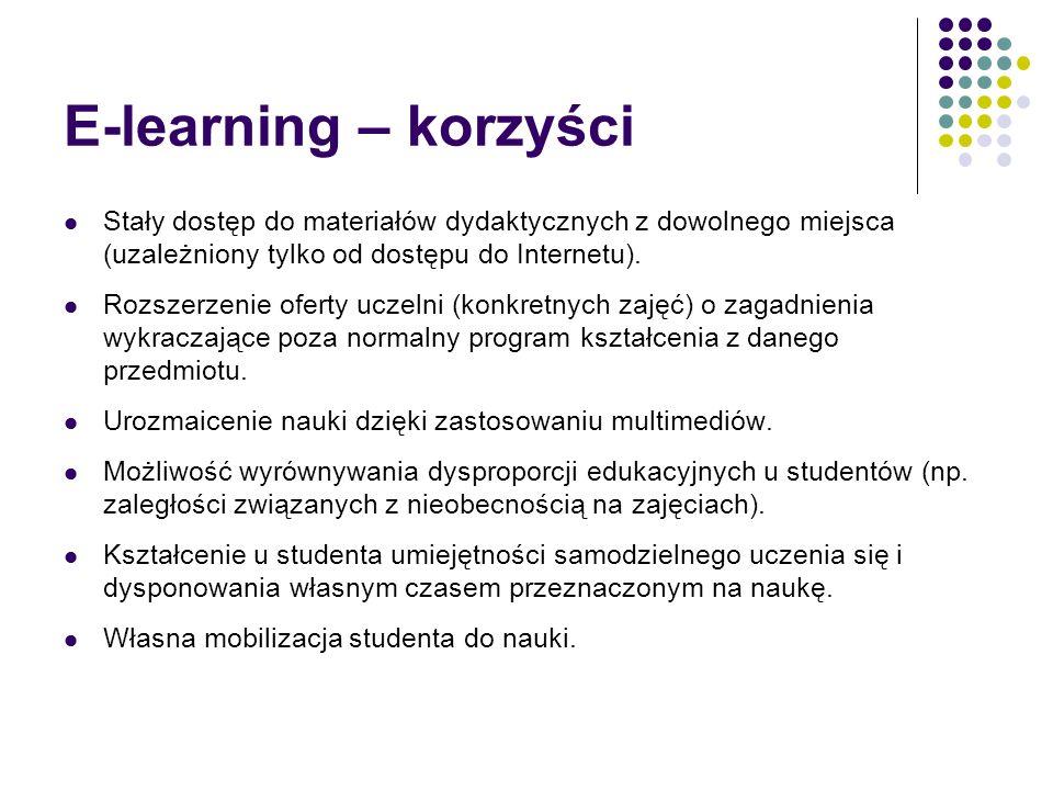 E-learning – korzyści Stały dostęp do materiałów dydaktycznych z dowolnego miejsca (uzależniony tylko od dostępu do Internetu).