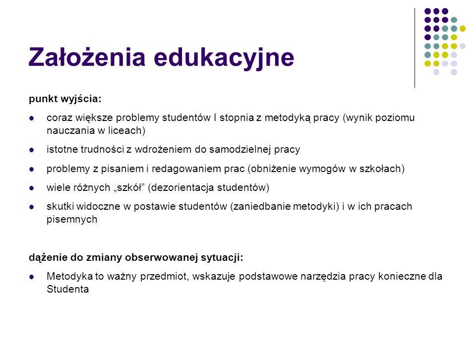 Założenia edukacyjne punkt wyjścia: