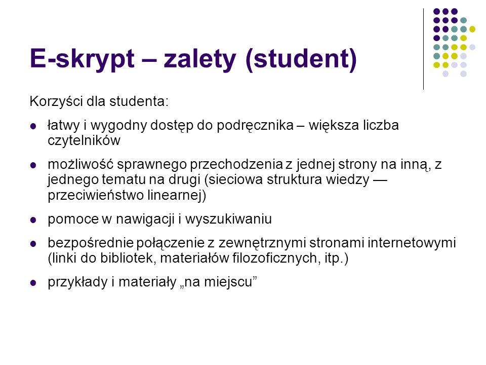 E-skrypt – zalety (student)
