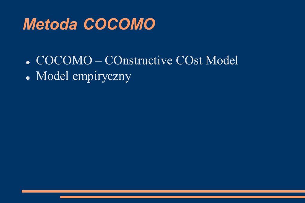 Metoda COCOMO COCOMO – COnstructive COst Model Model empiryczny