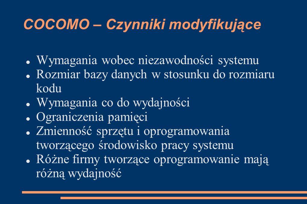 COCOMO – Czynniki modyfikujące