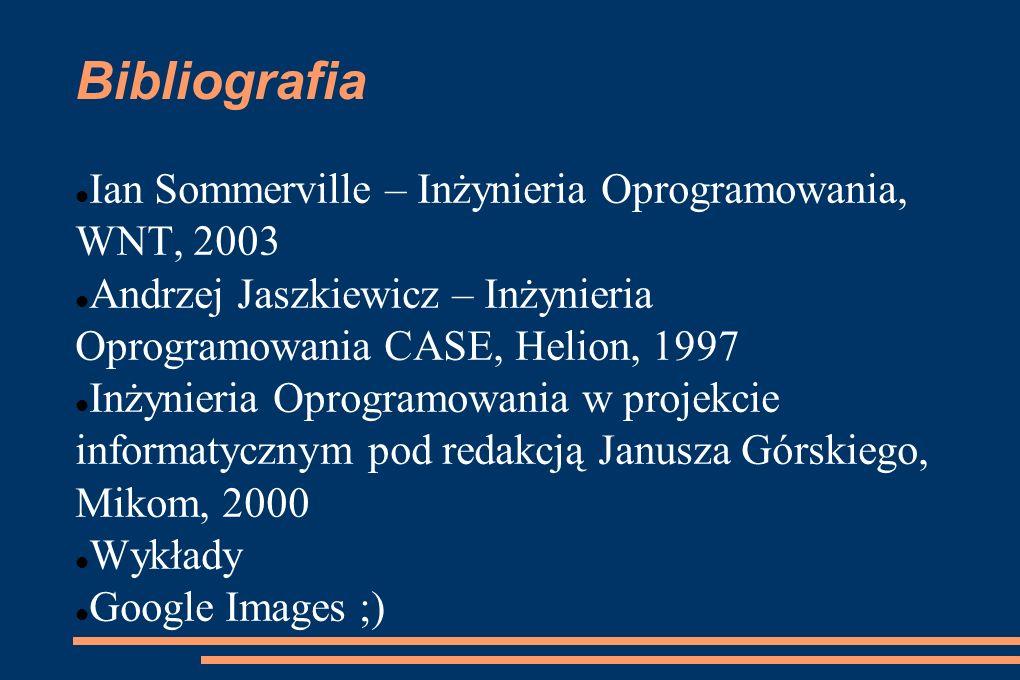 Bibliografia Ian Sommerville – Inżynieria Oprogramowania, WNT, 2003