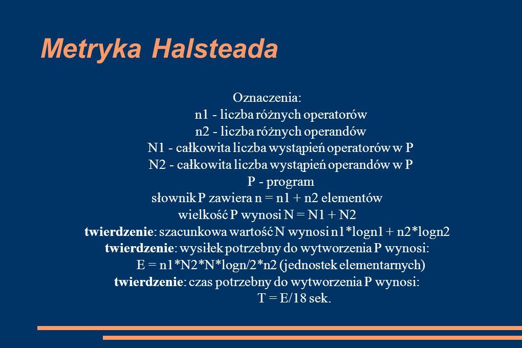 Metryka Halsteada Oznaczenia: n1 - liczba różnych operatorów