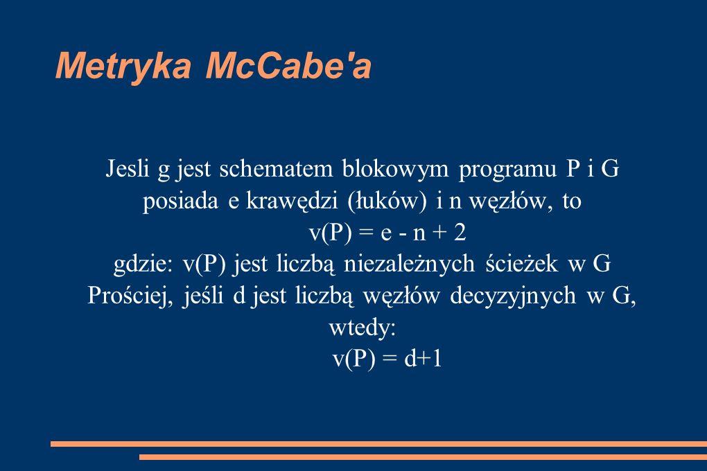 Metryka McCabe a Jesli g jest schematem blokowym programu P i G posiada e krawędzi (łuków) i n węzłów, to.