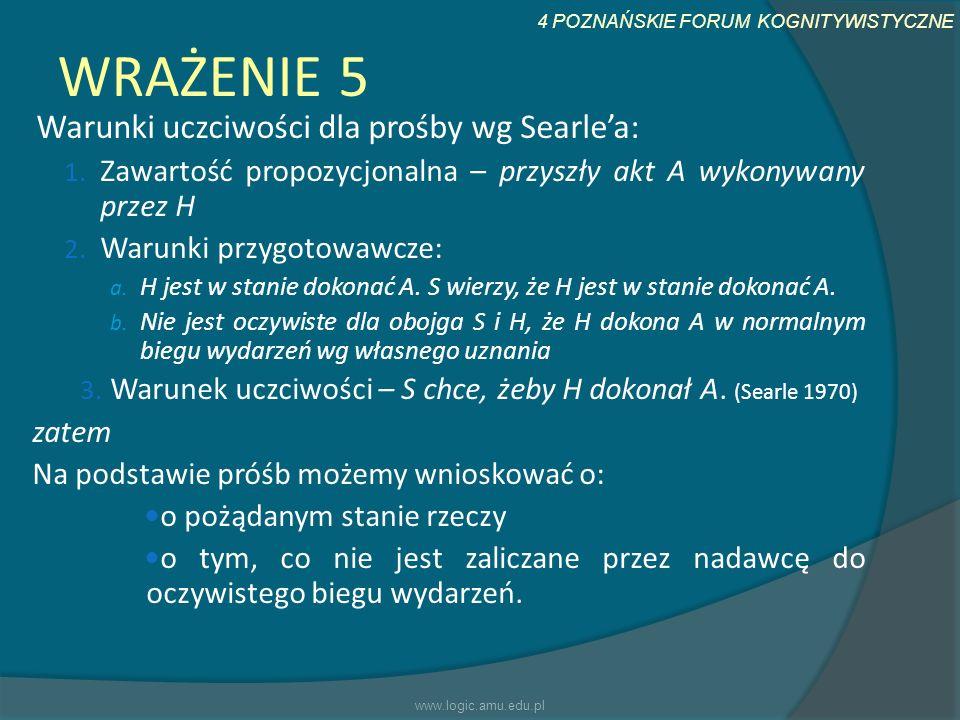 WRAŻENIE 5 Warunki uczciwości dla prośby wg Searle'a: