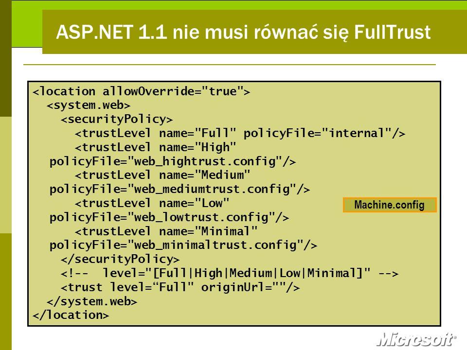 ASP.NET 1.1 nie musi równać się FullTrust