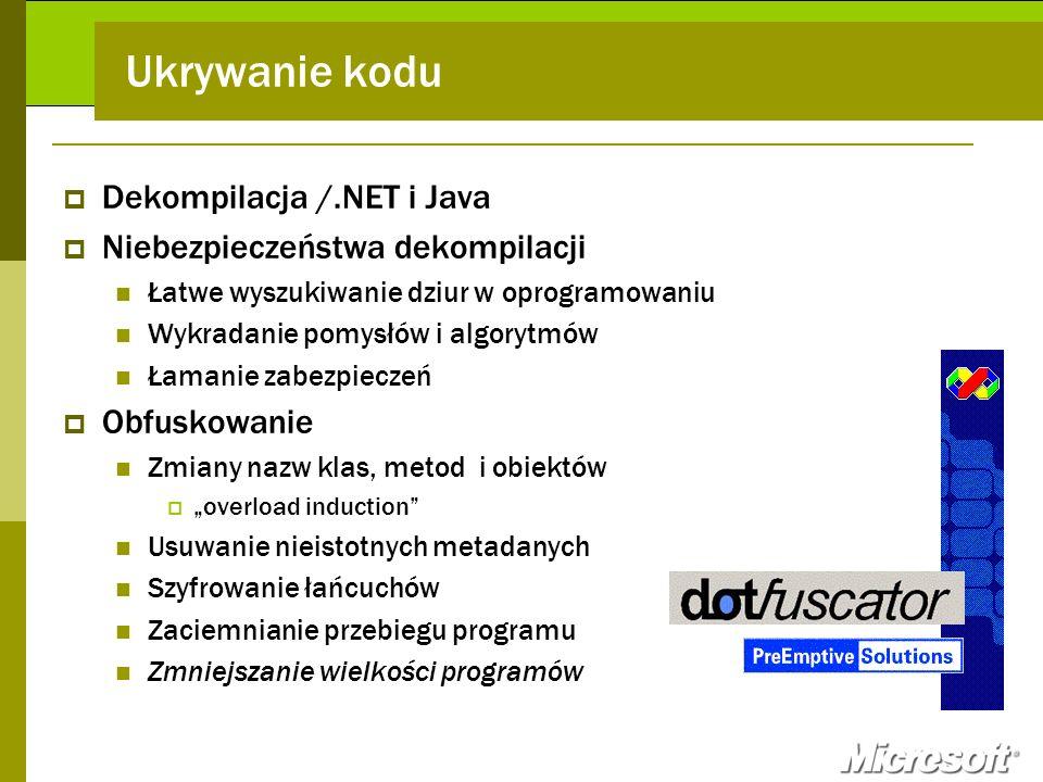 Ukrywanie kodu Dekompilacja /.NET i Java