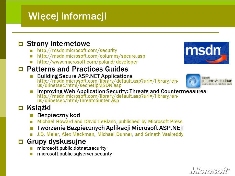 Więcej informacji Strony internetowe Patterns and Practices Guides