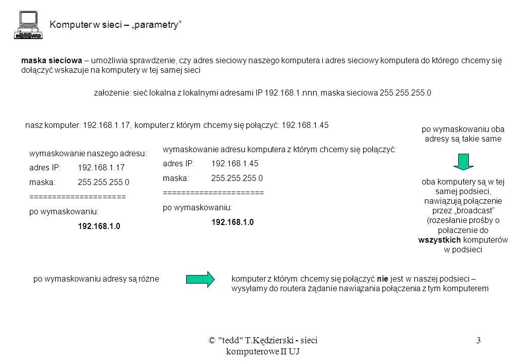"Komputer w sieci – ""parametry"