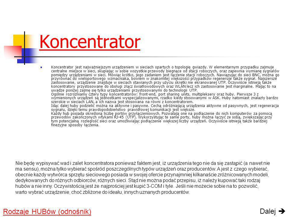 Koncentrator Dalej  Rodzaje HUBów (odnośnik)