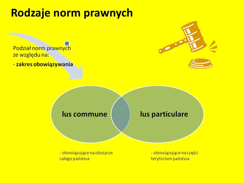 Rodzaje norm prawnych - obowiązujące na obszarze całego państwa