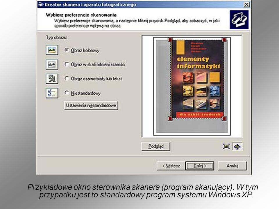 Przykładowe okno sterownika skanera (program skanujący)
