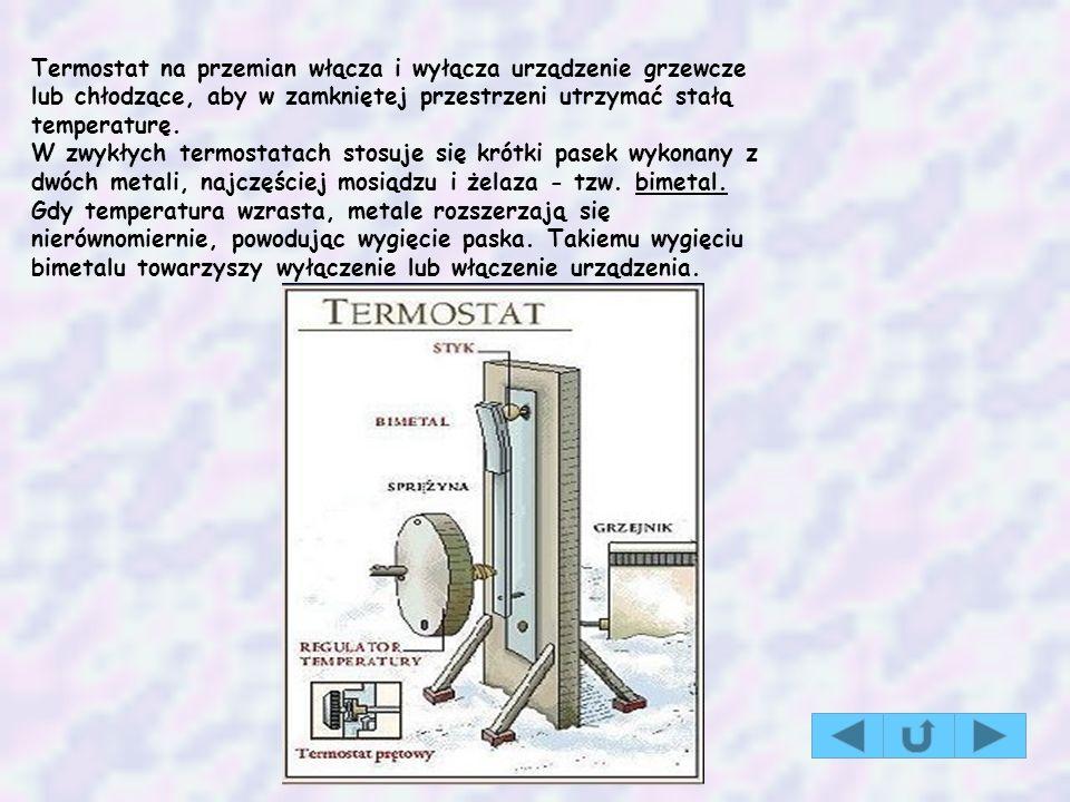 Termostat na przemian włącza i wyłącza urządzenie grzewcze lub chłodzące, aby w zamkniętej przestrzeni utrzymać stałą temperaturę.