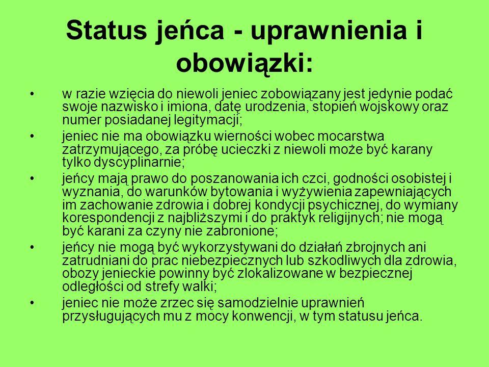 Status jeńca - uprawnienia i obowiązki: