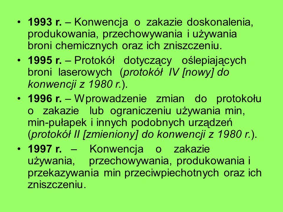 1993 r. – Konwencja o zakazie doskonalenia, produkowania, przechowywania i używania broni chemicznych oraz ich zniszczeniu.