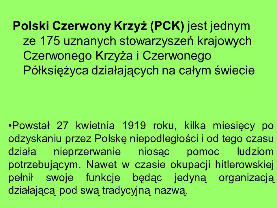 Polski Czerwony Krzyż (PCK) jest jednym ze 175 uznanych stowarzyszeń krajowych Czerwonego Krzyża i Czerwonego Półksiężyca działających na całym świecie