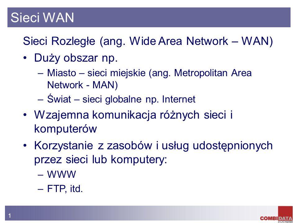 Sieci WAN Sieci Rozległe (ang. Wide Area Network – WAN)
