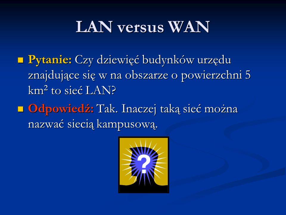 LAN versus WAN Pytanie: Czy dziewięć budynków urzędu znajdujące się w na obszarze o powierzchni 5 km2 to sieć LAN