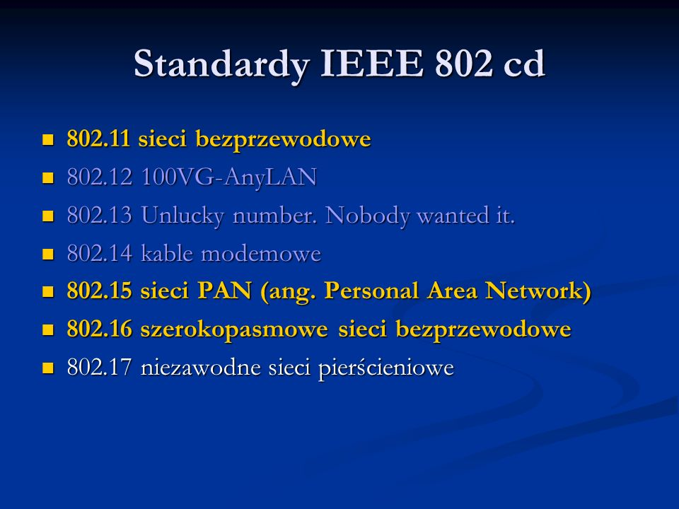Standardy IEEE 802 cd 802.11 sieci bezprzewodowe 802.12 100VG-AnyLAN